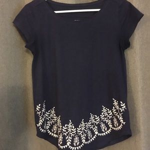 Navy and white loft embroidered tee